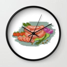 Pork Sausages Vegetables Drawing Wall Clock