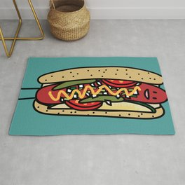 Chicago Style Hot Dog poppy seed bun red hot Rug