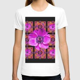 PURPLE ANEMONE FLOWER BLACK PATTERN T-shirt