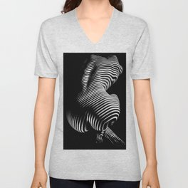 0727s-MM Black and White Striped Fine Art Nude Woman Back Bottom Butt Abstracted Unisex V-Neck