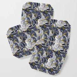 Big grey flowers, petals, leaves Coaster