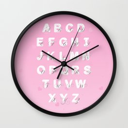 Alphabet - Pink Wall Clock
