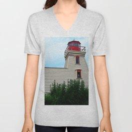Lighthouse in the Garden Unisex V-Neck