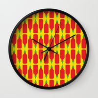 "sriracha Wall Clocks featuring Sriracha Print - ""Everything Tastes Better With You"" by The Best Part"