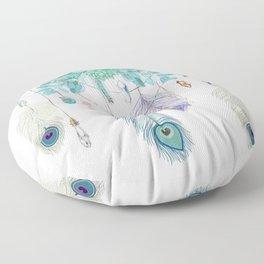 Peacock And Eucalyptus Crystal Spirit Gazer Floor Pillow