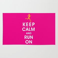 Keep Calm and Run On (female runner) Rug