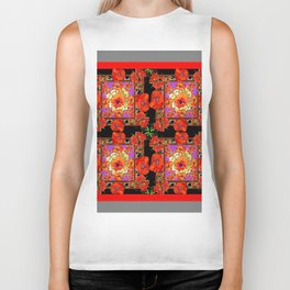 GREY & BLACK ART RED DECO ORANGE-RED POPPIES Biker Tank