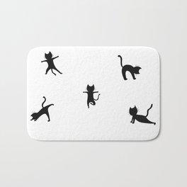 Yoga cats - black cats doing yoga Bath Mat