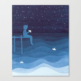 Boy with paper boats, blue Canvas Print