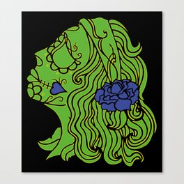day of the dead green Canvas Print