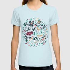 Deck the Halls Light Blue Womens Fitted Tee X-LARGE
