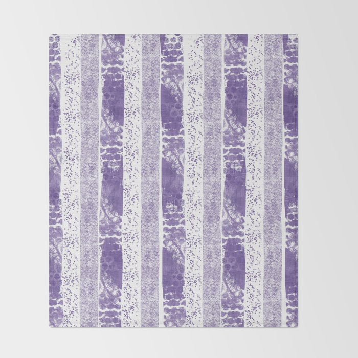 Lilac watercolor paint brushstrokes confetti stripes Throw Blanket