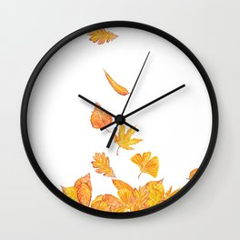falling yellow leaves watercolor Wall Clock