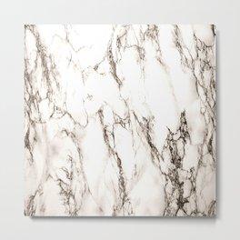 Brown Veined Marble Metal Print