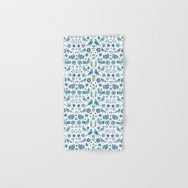 Scandi Folk Birds - blue & white Hand & Bath Towel