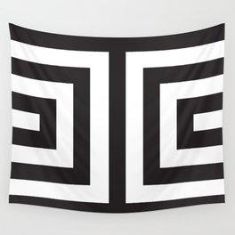 Black Greek Stripes Wall Tapestry