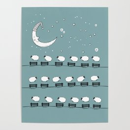 Counting Sheep II: Sheep Jumping Over Fences Poster