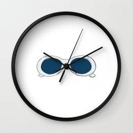 60s Blue Retro Glasses   Mod Wall Clock