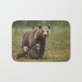 Mama bear with adorable cubs Bath Mat