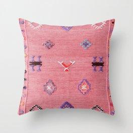 Pink Oriental Traditional Boho Moroccan Style Design Artwork Throw Pillow