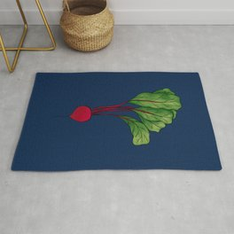 Red Beet with Blue Background Rug