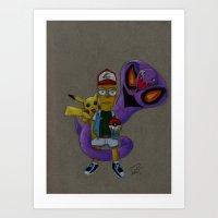 simpson Art Prints featuring Bart Simpson  by Pursuit_Art