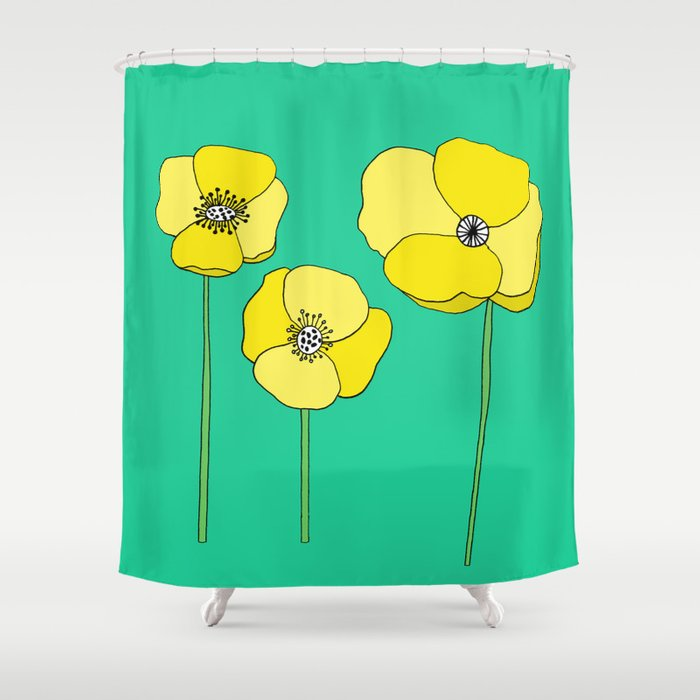 Bright Yellow And Mint Green Poppies Growing Thriving Shower Curtain