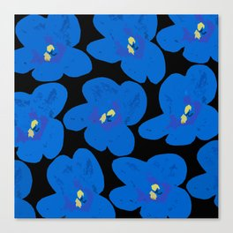 Blue Retro Flowers on Black Background #decor #society6 Canvas Print