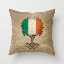 Vintage Tree of Life with Flag of Ireland Throw Pillow