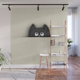 Cute Fluffy Black cat peaking out Wall Mural
