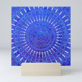 Blue Floral Mandala Mini Art Print