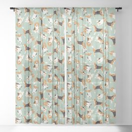 beagle scatter mint Sheer Curtain