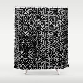 Black and White Ethnic Sharp Geometric  Shower Curtain