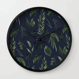 Winter Leaf Pattern 2 (Navy) Wall Clock