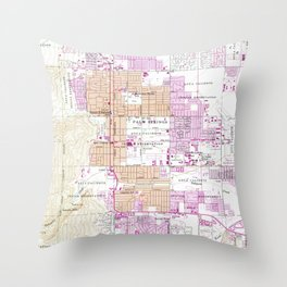 Vintage Map of Palm Springs California (1957) Throw Pillow