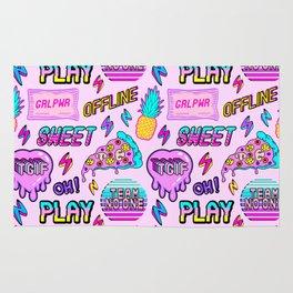 Pink Offline (stickers pattern) Rug
