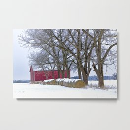 Red Barn in Winter with Hay Bales Metal Print