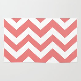 Light coral - pink color -  Zigzag Chevron Pattern Rug