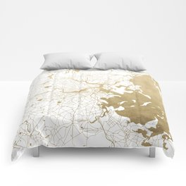 Boston White and Gold Map Comforters