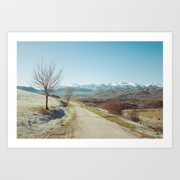 Mountains in the background Art Print