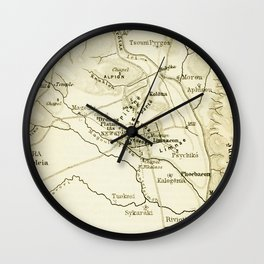 Vintage Map of Sparta Greece (1894) Wall Clock