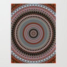 Orange Red Grey Boho Mandala Poster