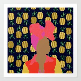 Pineapple Bawse Babe (Blue) Art Print