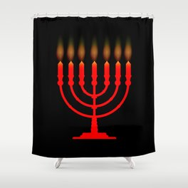 Menorh With Seven Candles Shower Curtain
