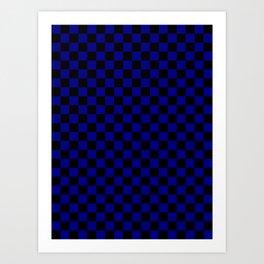 Black and Navy Blue Checkerboard Art Print