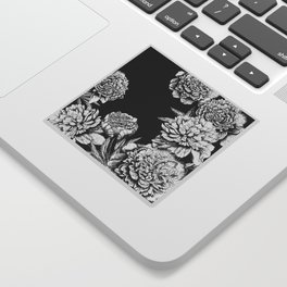 FLOWERS IN BLACK AND WHITE Sticker