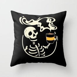 Skeleton Vintage Picture With Smiling Skull Throw Pillow