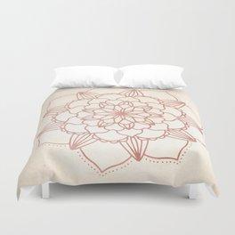 Mandala Bloom Rose Gold on Cream Duvet Cover