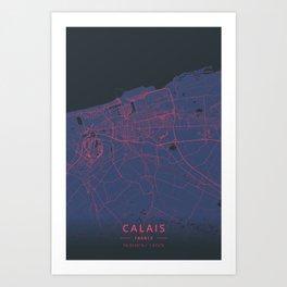 Calais, France - Neon Art Print
