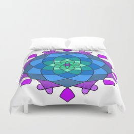 Mandala in blue and pink colors Duvet Cover